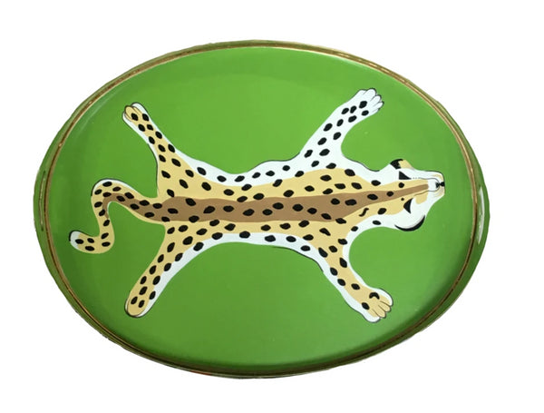 Dana Gibson Oval Leopard Tray in Green