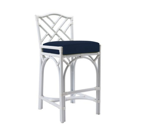 Chippendale Outdoor Barstool, Navy Sunbrella by David Francis