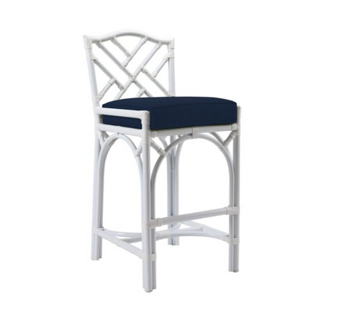 Chippendale Outdoor Counterstool, Navy Sunbrella by David Francis