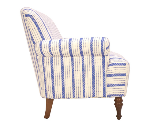 Dana Gibson Josie Love Seat in Blue Ticking