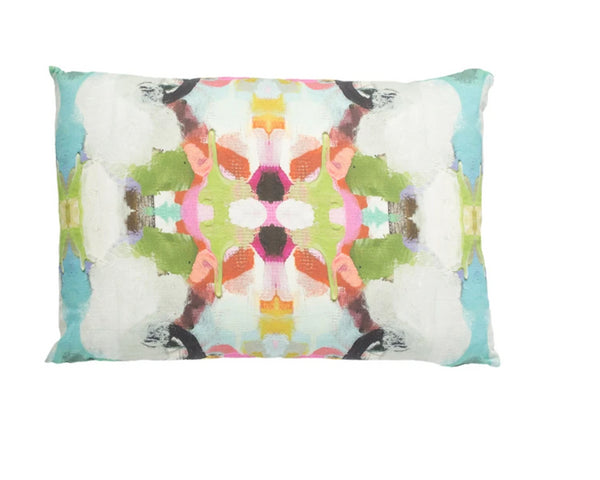 Laura Park Summer Garden Red Linen Cotton Pillow