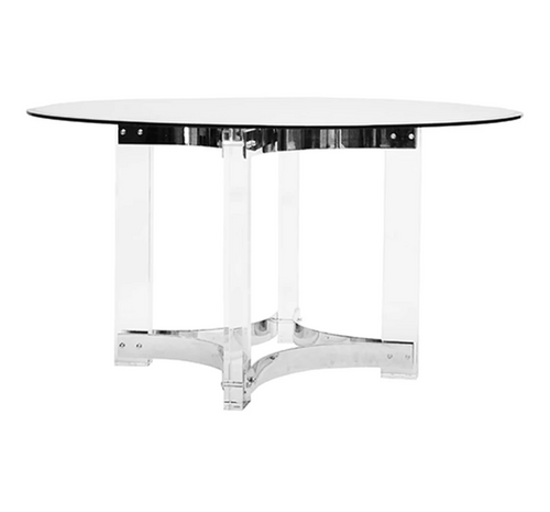 Worlds Away Hendrix Dining Table, Nickel