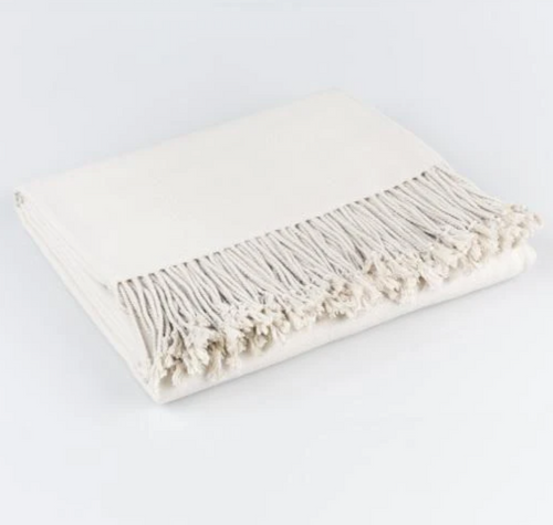 Surya Chantel Woven Silk Throw with Tassels