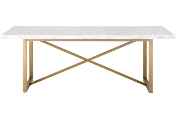 Essentials For Living Carrera Stone Wash & Brushed Gold Dining Table
