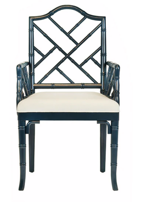 Bristol Dining Chair by Worlds Away, Navy Blue