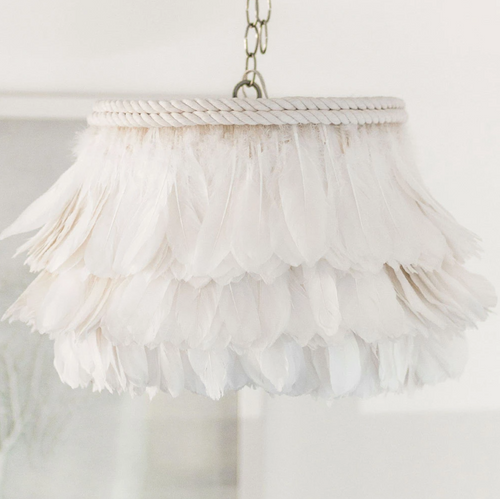 Jamie Dietrich White Feather Pendant Chandelier