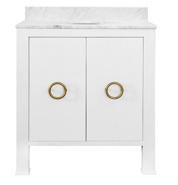 Worlds Away Blanche White Linen Bathroom Vanity