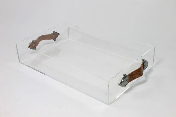 Acrylic Serving Tray with Leather Handles by Jamie Dietrich