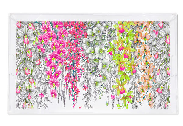 Nicolette Mayer Orchid Garden Pink & Green Acrylic Tray