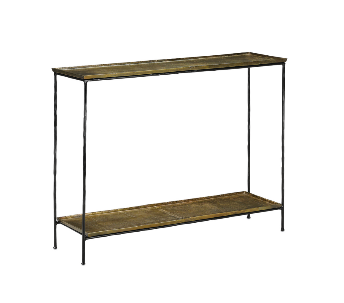 Boyles Console Table in Brass by Currey and Company