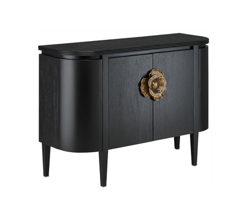 Briallen Black Demi-Lune Cabinet by Currey and Company