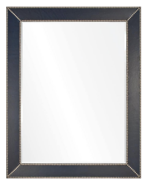 Blue Leather & Silver Nailhead Mirror by Barclay Butera