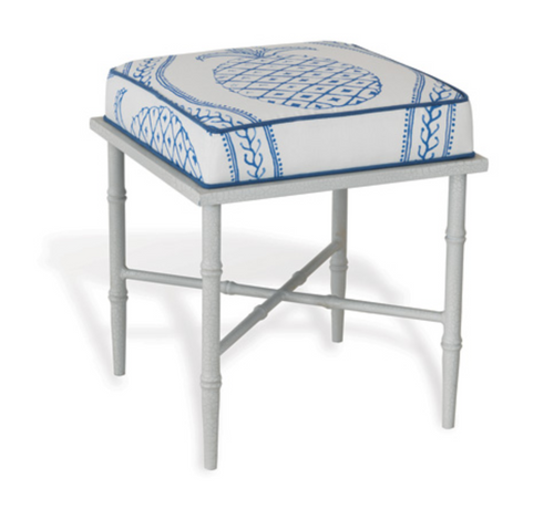 Port 68 White and Blue Pineapple Doheny Bench