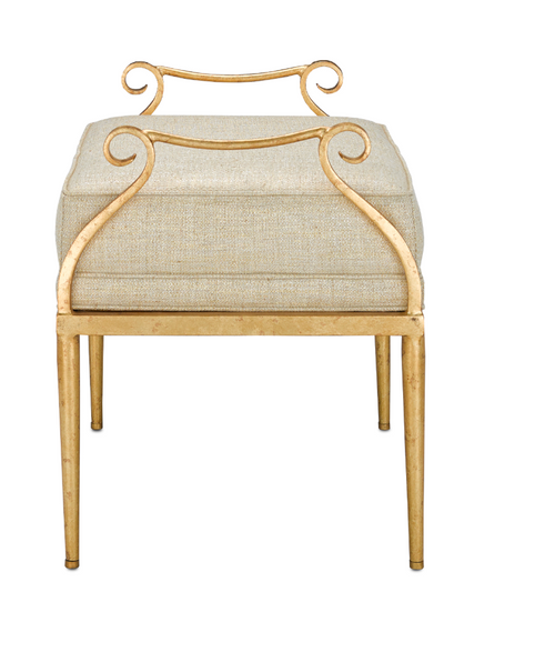 Genevieve Shimmer Gold Ottoman by Currey and Company