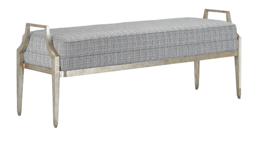 Torrey Tuxedo Silver Bench by Currey and Company