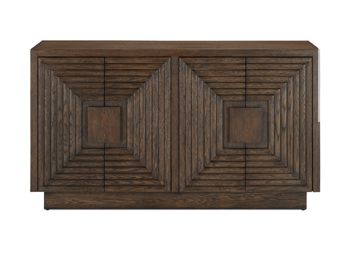 Currey and Company Morombe Carved Wood Cabinet