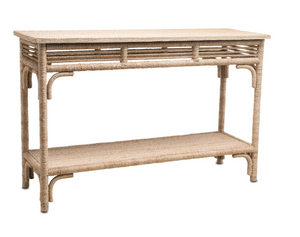 Currey and Company Olisa Rattan and Wicker Console Table