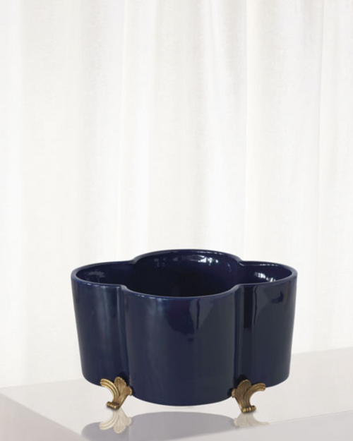 Port 68 Navy Blue Quatrefoil Planter