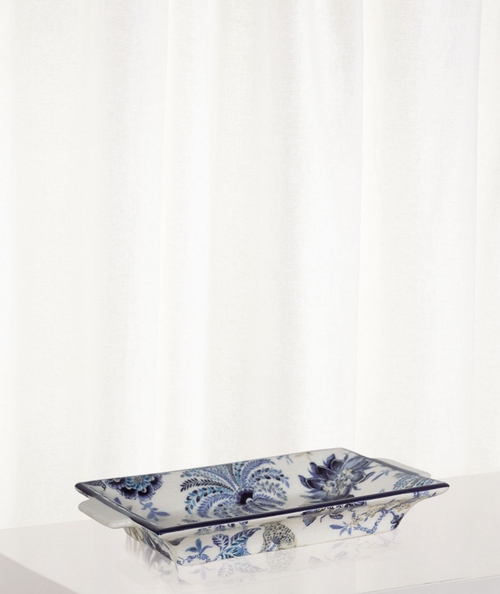 "Williamsburg 11"" Braganza Decorative Tray, Blue/White"