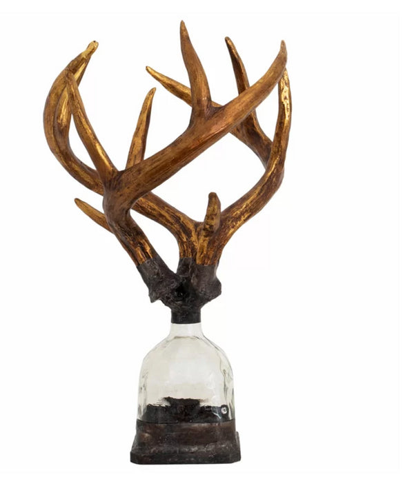 Triple Medium Antler Decorative Bottle by Jamie Dietrich Designs