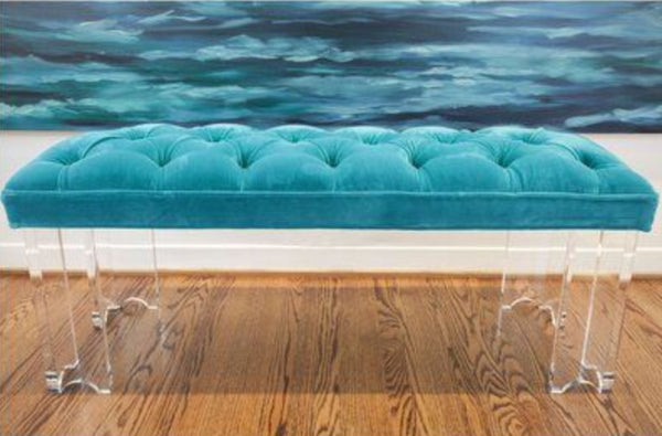 Arched Acrylic Bench with Turquoise Velvet Upholstery by Jamie Dietrich Designs