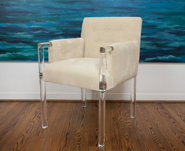 Jamie Dietrich Tito Arm Chair in Creme Velvet
