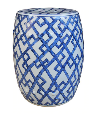 Atlee Modern Classic Blue and White Bamboo Joints Porcelain Garden Stool