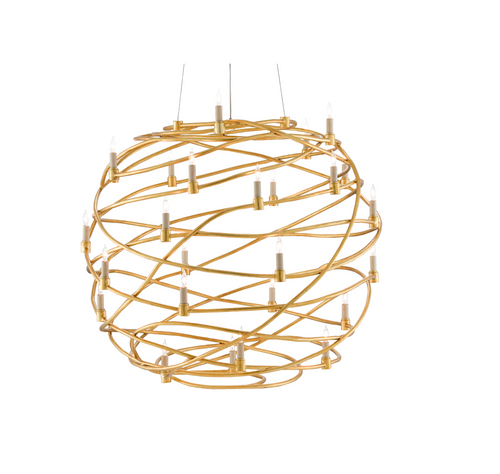 Franchette Orb Chandelier in Gold by Currey and Company