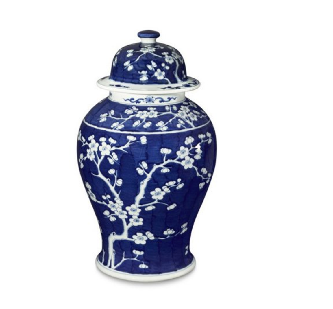 "21"" Plum Tree Temple Jar, Blue/White"