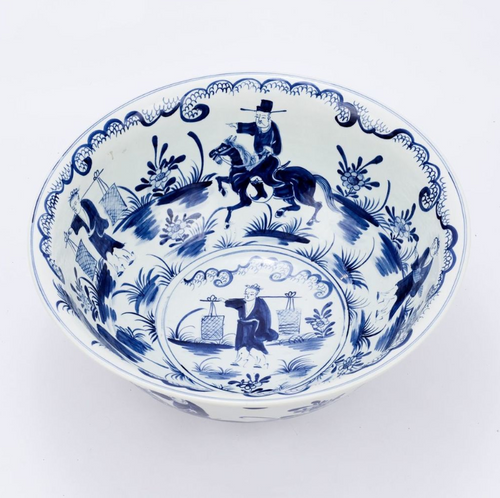 Handmade Blue and White Ceramic Decorative Bowl with Landscape Scene Design