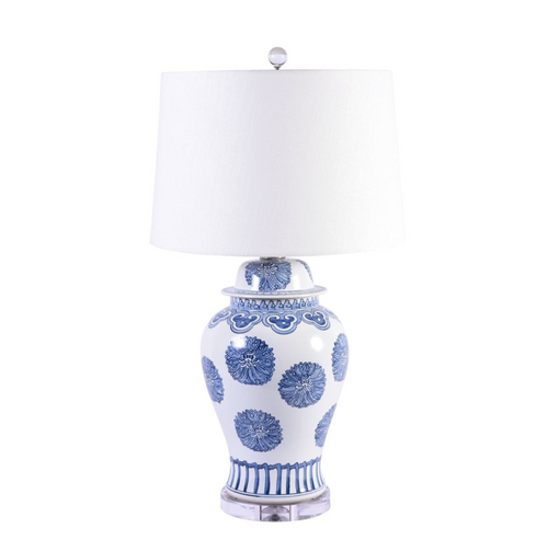 Legend of Asia Blue & White Porcelain Multi Flower Lamp