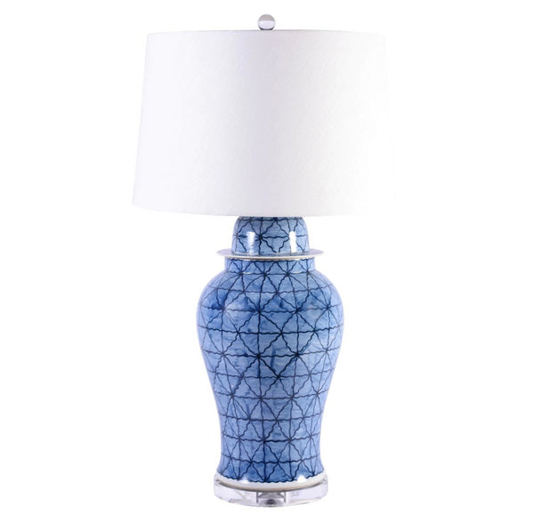 Legend of Asia Blue & White Porcelain Chess Grids Table Lamp