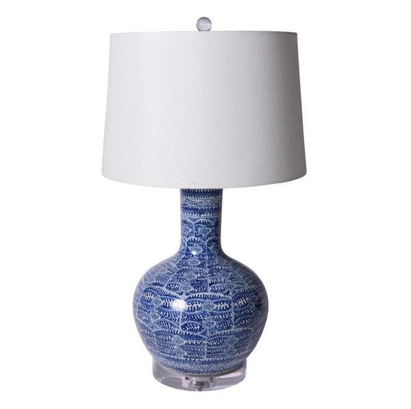 Blue and White Porcelain Blossom Base Table Lamp