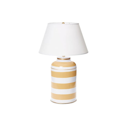 Dana Gibson Taupe Stripe Tea Caddy Lamp, Large