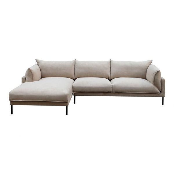 Moes Jamara Sectional Light Grey Left