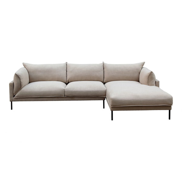 Moes Jamara Sectional Light Grey Right