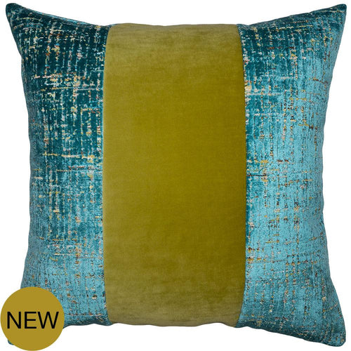 Vagabond Teal Wasabi Band Pillow by Square Feathers