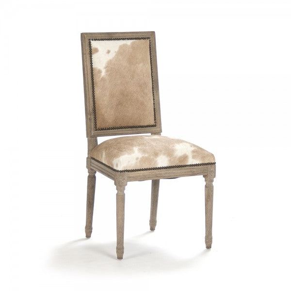 Zentique Quenton Side Chair Tan/White Spotted Cowhide