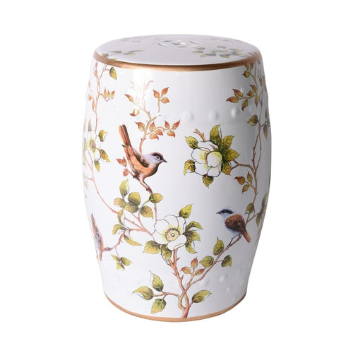 Cream White Garden Stool With Flower and Birds, Legend of Asia