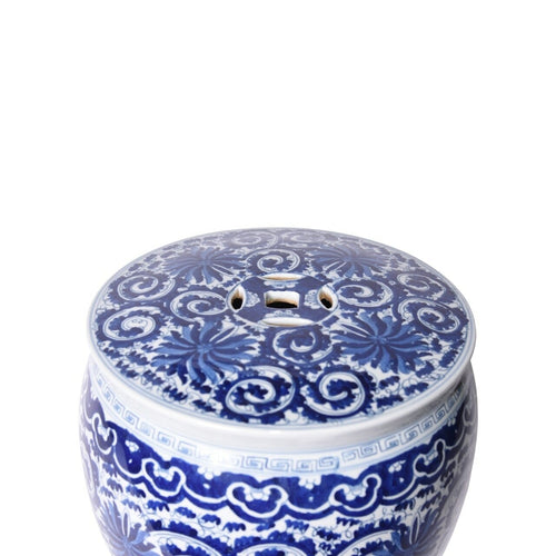 Twisted Lotus Drum Stool, Blue by legend of Asia