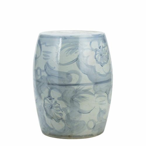 Blue & White Silla Porcelain Garden Stool Twisted Flower