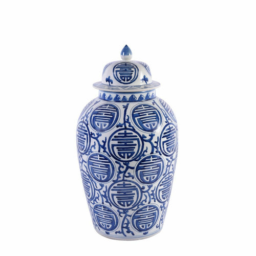 Longevity Heaven Jar, Blue/White by Legend of Asia