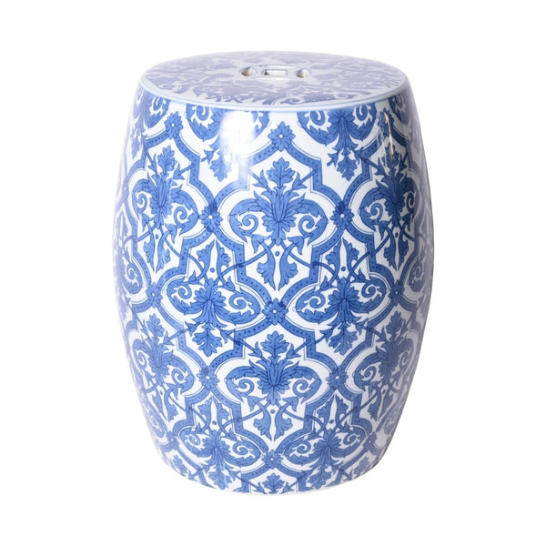 Block Print Paris Garden Stool, Blue/White
