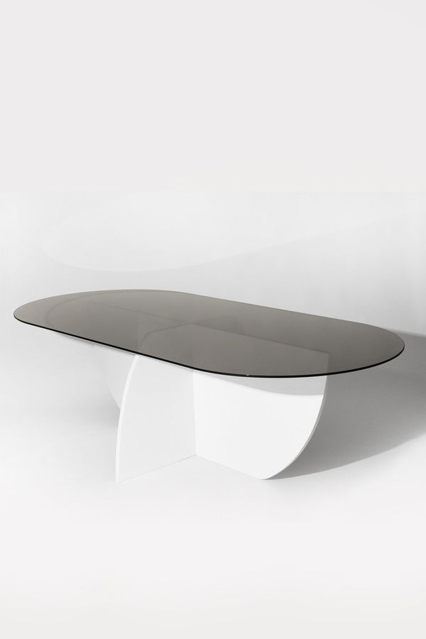 Aurora Dining Table, White Mosaic Base / Smoked Glass