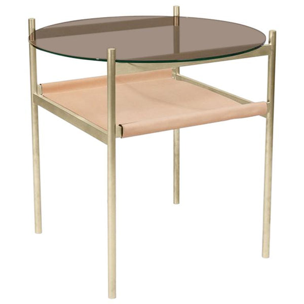 Duotone Circular Side Table,  Natural Leather & Brass