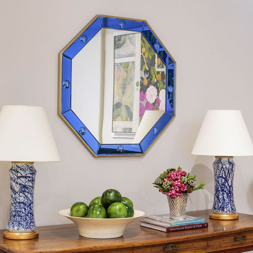 Octagonal Blue & Polished Brass Mirror by Bunny Williams