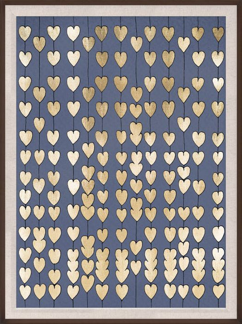 Natural Curiosities Navy and Gold Cartier Hearts, Framed
