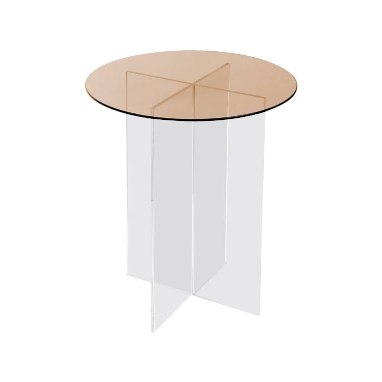 Section Side Table, Rose Glass / Clear Acrylic