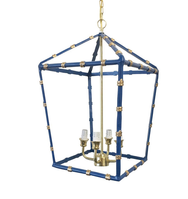 Dana Gibson Bamboo Chandelier in Navy Blue