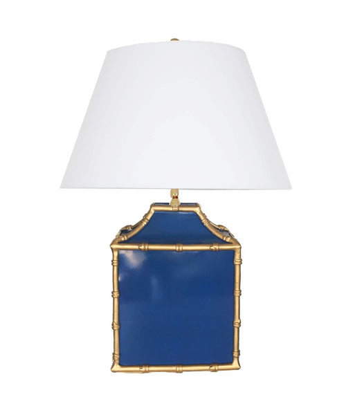 Dana Gibson pagoda lamp in navy blue